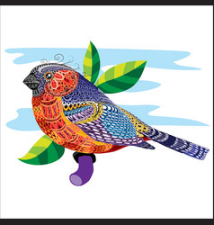bird painted with small patterns sitting on a vector image