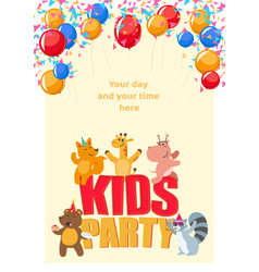 Birthday party poster with cute animals having fun vector