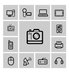 black electronic devices icons set vector image
