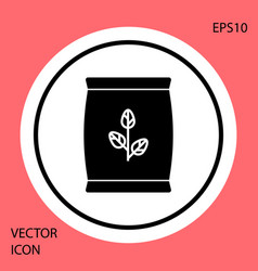 Black fertilizer bag icon isolated on red vector