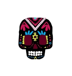 Black Traditional Mexican Painted Scull Icon vector