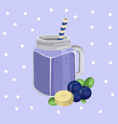 Blueberry smoothie fresh drink retro style vector