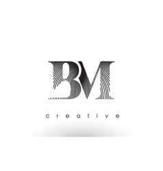 Bm logo design with multiple lines and black vector