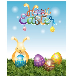 bunny holding easter eggs vector image