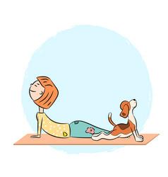 Cartoon dog beagle with girl doing yoga vector