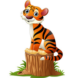 Cartoon tiger sitting on tree stump vector