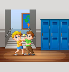 Cartoon two boys fighting at s vector