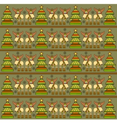 Christmas background with funny elks vector