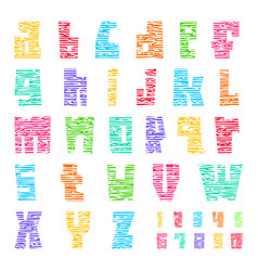 colorful font with cracks trendy alphabet bright vector image
