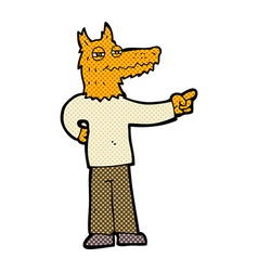 Comic cartoon pointing fox man vector