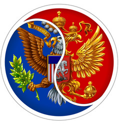 cooperation between usa and russia vector image