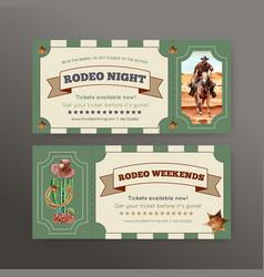 Cowboy ticket design with horse cactus hat desert vector
