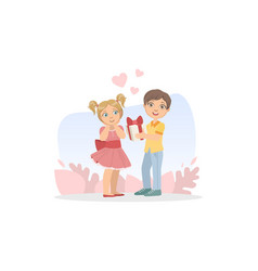 cute boy giving gift box to smiling girl vector image