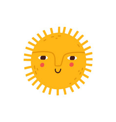 cute happy smiling sun with funny face hot summer vector image