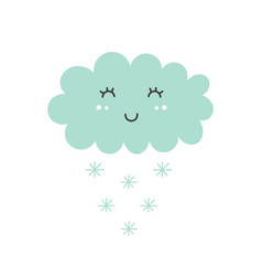 cute snowy cloud isolated element kids design vector image