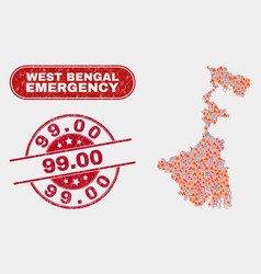 Danger and emergency collage west bengal state vector