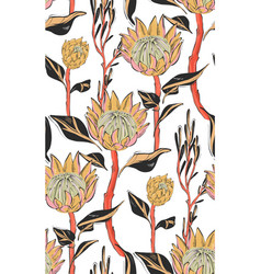 Dark protea with leaves seamless pattern design vector