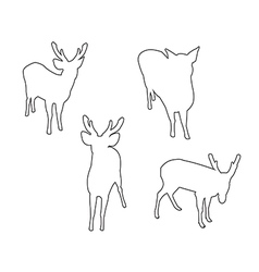 Deer set path on the white background vector