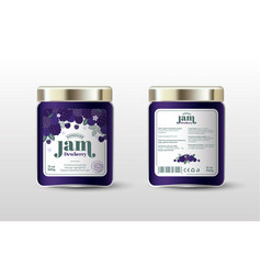 Dewberry jam label jar packaging sugar free vector