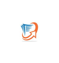 Document transfer arrow logo vector