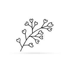 Doodle flower icon isolated on white eco logo vector