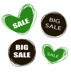 Doodle tags sale tags sale banners set love vector