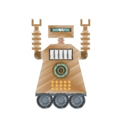 drawing brown robot technology future artificial vector image