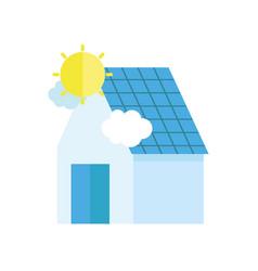 ecology renewable environment solar panel house vector image