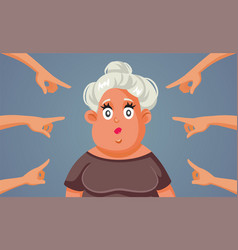fingers pointing to middle-aged adult woman vector image
