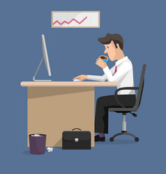 flat design of businessman in office vector image