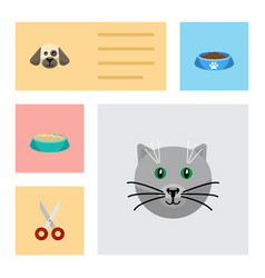 flat icon pets set of shears puppy kitty and vector image vector image