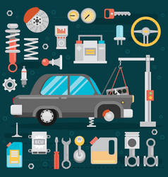 Flat icons and repair of machines and equipment vector