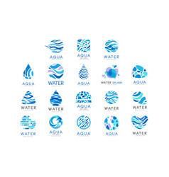 flat set original aqua logos abstract vector image