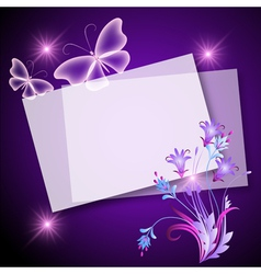 Floral Note Template vector image