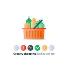 Food abundance grocery order pile in basket vector