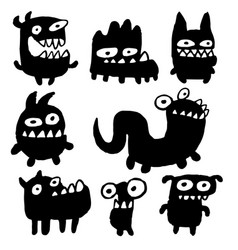 funny black flat monsters vector image