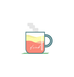 Glass drinking syrup flat vector