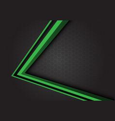 green arrow 3d direction on gray hexagon mesh vector image