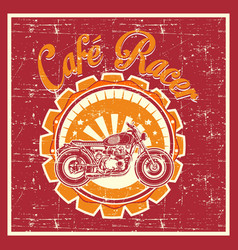 Grunge style cafe racer badge vector