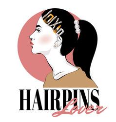 Hairpins lover hand drawn fashion vector