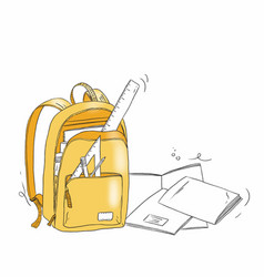Hand draw a school bag with stationery objects vector