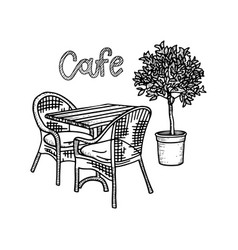 Hand drawn street cafe furniture - table two vector