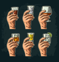 hand holding glass with tequila vodka rum vector image