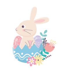 Happy easter day rabbit in eggshell eggs flowers vector