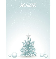 Happy holidays blue background with Christmas tree vector image