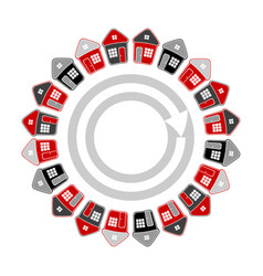 houses in circle shape vector image