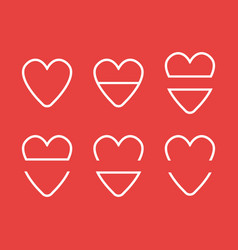 icon set hearts flat color style vector image