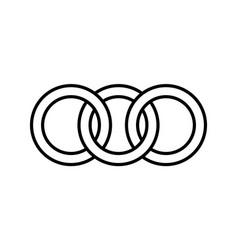 Interlocking circles rings contour circles rings vector