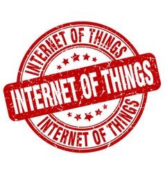 Internet of things red grunge stamp vector