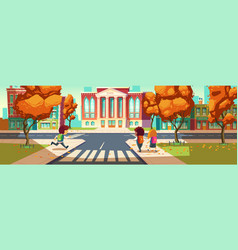 kids go to school little students boys and girl vector image